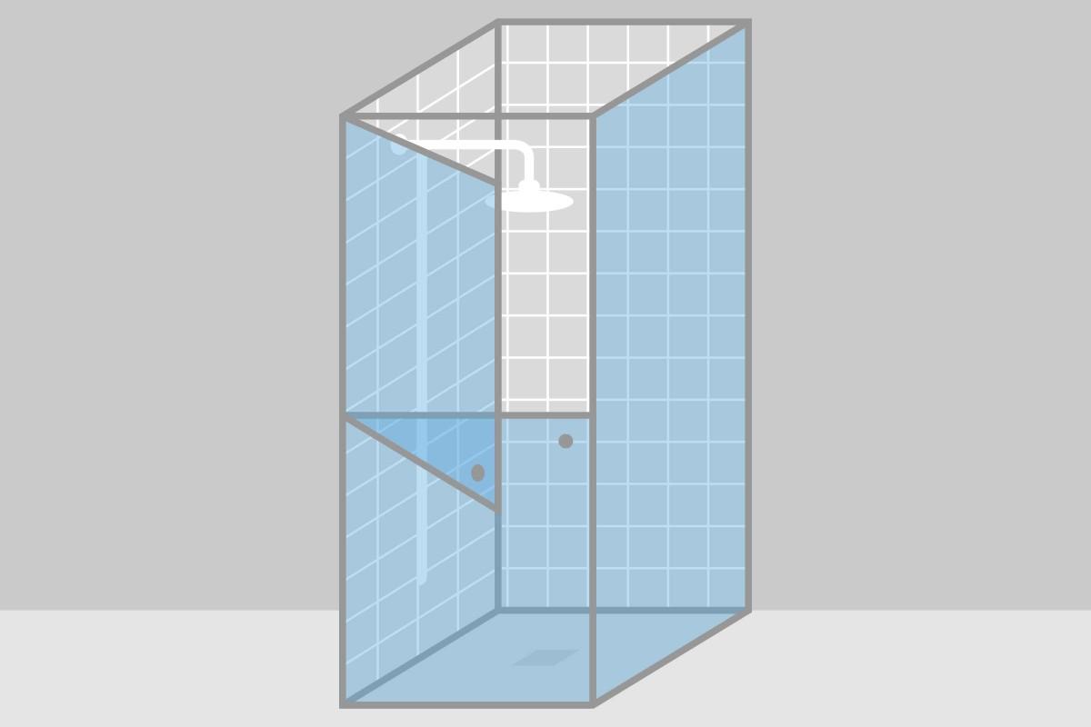 duschkabine mit horizontal geteilter tuer
