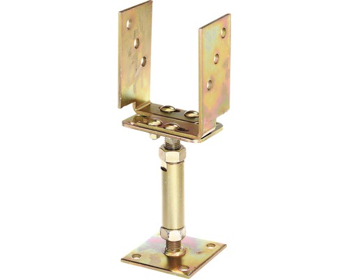 Support de poteaux en u à visser réglable 71-161x110x70mm, galvanisé à chaud, 1 unité