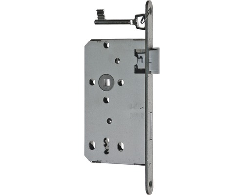 Zimmertür-Einsteckschloss Bever links, BB, 55/72/8, DIN, Falz, Stulpe silber lackiert