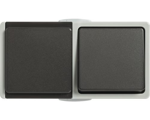 Combinaison prise/interrupteur-inverseur IP54 pour pièce humide pose en saillie horizontale gris clair/gris foncé Standard IP 54