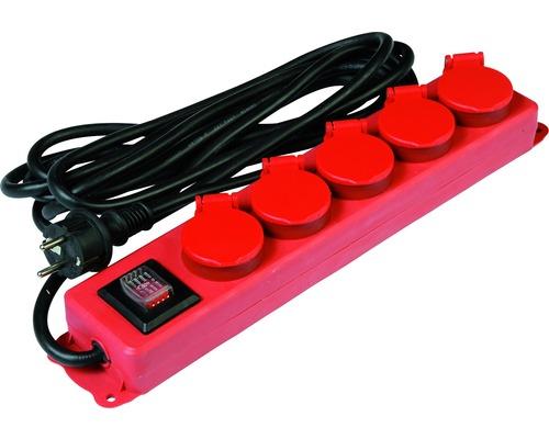 Bloc multiprise pro 5 emplacements IP44 avec interrupteur 3G1,5 rouge 4,5m