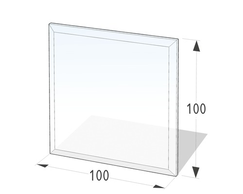 Plaque de protection en verre contre les étincelles carrée 100x100 cm