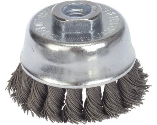 Brosse boisseau à fils d''acier torsadés Lessmann Ø 65 mm sans anneau de support, diamètre 3,5mm