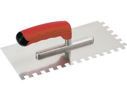 Edelstahl-Glättekelle Kaufmann gezahnt 8x8 mm mit Softgriff