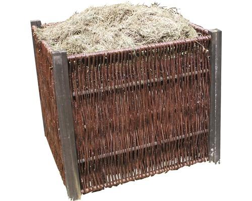 Silo de compostage Lafiora en osier, 80x80x80 cm