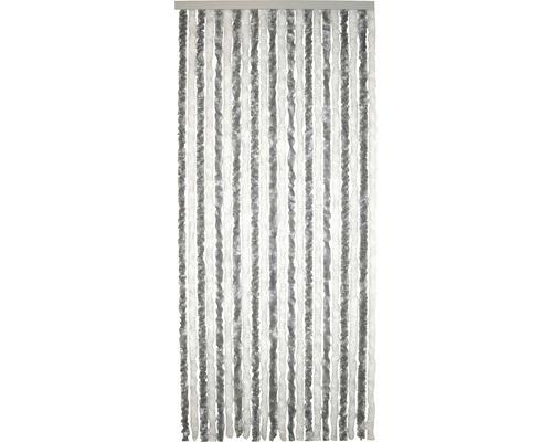 Rideau de porte pelucheux argenté-blanc 90x200 cm