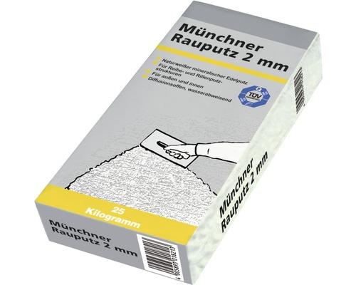 Enduit Münchner 2 mm pour l''intérieur et l''extérieur, blanc 25 kg