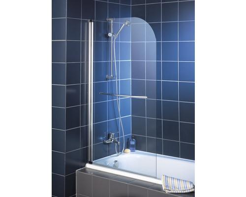 Badewannenfaltwand Schulte 1-teilig 800 mm Echtglas Klar Hell chromoptik inkl. Handtuchhalter gebogen