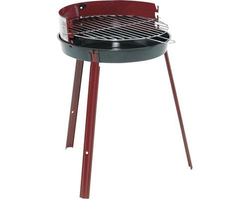Barbecue rond au charbon de bois Ø 35 cm acier émaillé rouge noir