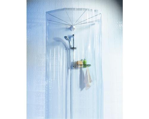 Structure parapluie Spirella Ombrella avec tringlerie et rideau de douche 200x170cm transparent