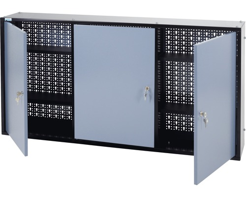Hängeschrank Küpper Hammerschlag-Silber 1200 mm 4 Böden, 3 Türen