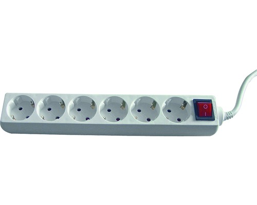 Bloc multiprise 6 emplacements, avec interrupteur, 3G1.5, blanc, 1.4m