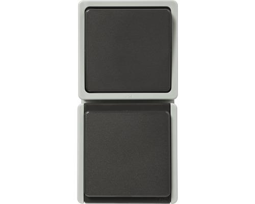 Combinaison prise de courant/inverseur en saillie pour pièce humide verticale gris clair/gris foncé