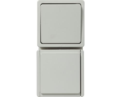 Combinaison prise de courant/inverseur en saillie pour pièce humide blanc ultra
