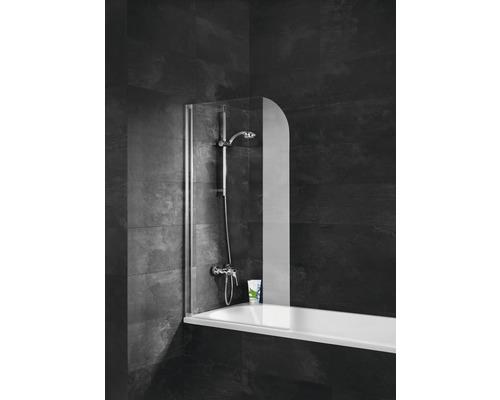 Pare-baignoire Schulte 1 pièce avec paroi latérale Verre synthétique transparent avec effet chromé