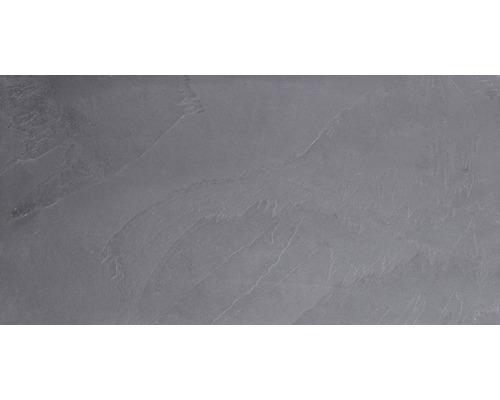 Carrelage sol et mur en pierre naturelle 30x60 cm noir anthracite