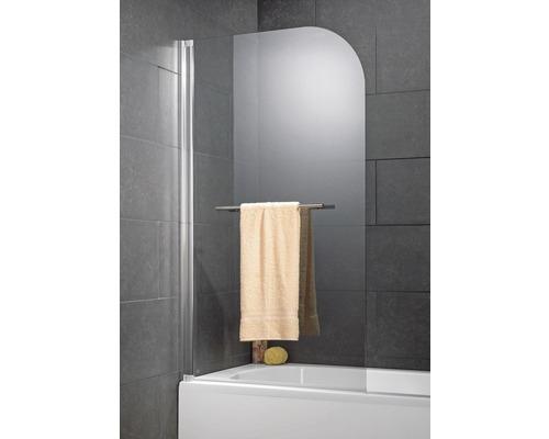 Paroi repliable pour baignoire Schulte 1 pièce verre véritable transparent aluminium nature avec porte-serviettes droit