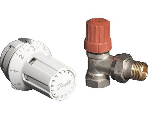 """kit de robinet thermostatique Danfoss forme angulaire 1/2"""" (013G5010 / 013G0033)"""