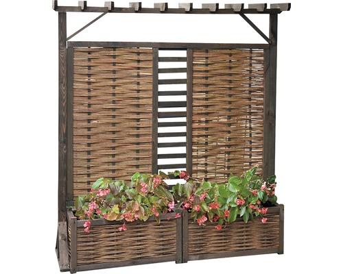 Treillis pour plantes avec bacs à plantes et pergola en osier, 177x196 cm