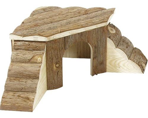 Maison d''angle en bois avec échelle Karlie 48x48x21cm, nature