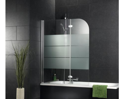 Pare-baignoire Schulte 2 pièces verre véritable Décor Depoli Light aspect chrome D2655-NWB