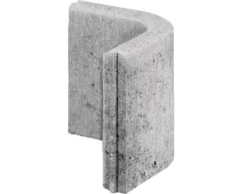 Bordure de gazon angle arrondi 90° gris avec rainure et ressort 25 x 25 x 5 cm