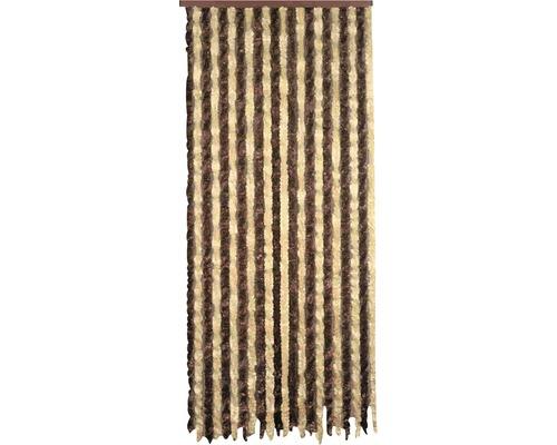 Rideau de porte pelucheux brun-beige 90x200 cm