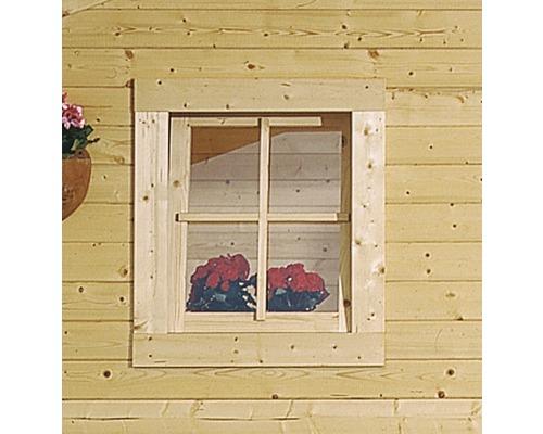 Fenêtre à un vantail pour abri de jardin 28 mm Karibu (oscillo-battante) butée à droite 69x80 cm naturel