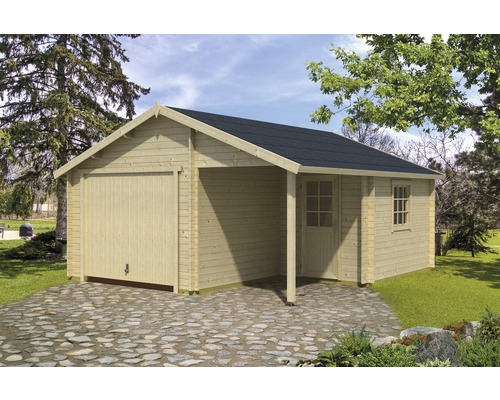 Garage simple Nevis porte basculante 500x550cm naturel