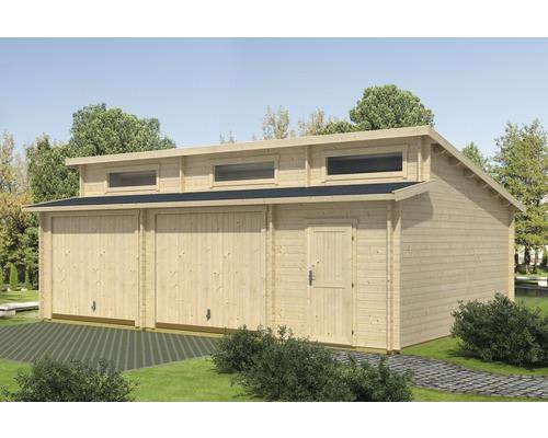 Garage double Hawaii porte basculante avec espace outils 780x520cm naturel