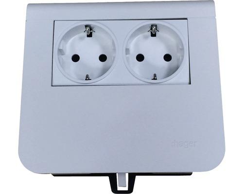 Prise de courant support d'appareil Hager double blanc pur SL200559009010