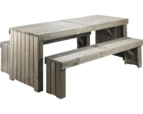 Ensemble de meubles de jardin Amsterdam pin 8 places 3 pièces, gris