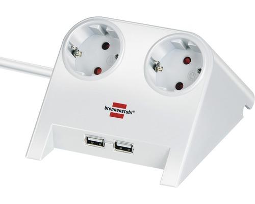 Chargeur power bureau 2 prises avec porte USB blanc/ poli 1,8 m