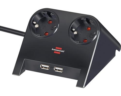 Chargeur power bureau 2 prises avec porte USB noir/poli 1,8 m