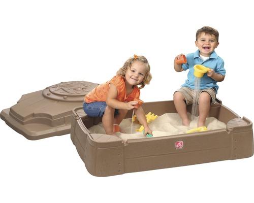Bac à sable Step2 Play & Store plastique 107x71x28cm marron