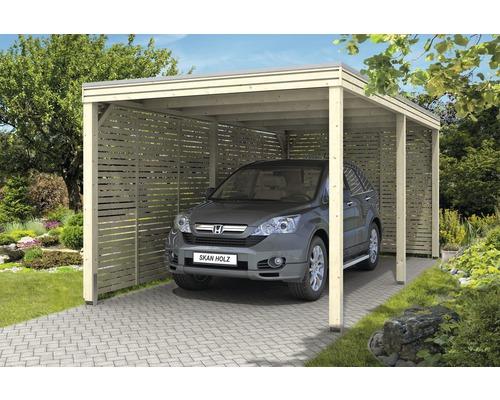 Carport pour un véhicule SKAN HOLZ de forme cubique avec panneaux latéraux et arrière, 294 x 574cm, naturel