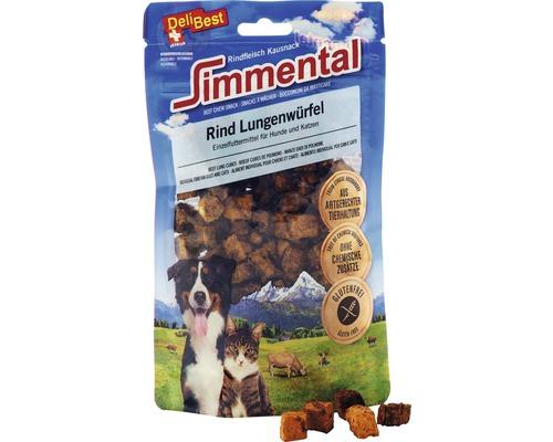 Friandise pour chiens et chats DeliBest Simmental cubes de poumons de bœuf 60g