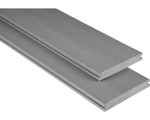 Planche pour terrasse WPC massif avec structure gris 20x145x3000mm