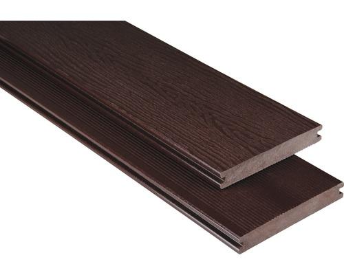 Planche pour terrasses Konsta WPC profilé plein avec structure brun chocolat 20x145mm (produit au mètre)
