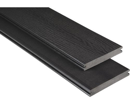 Planche pour terrasses Konsta WPC profilé plein avec structure gris-brun 20x145mm (produit au mètre)
