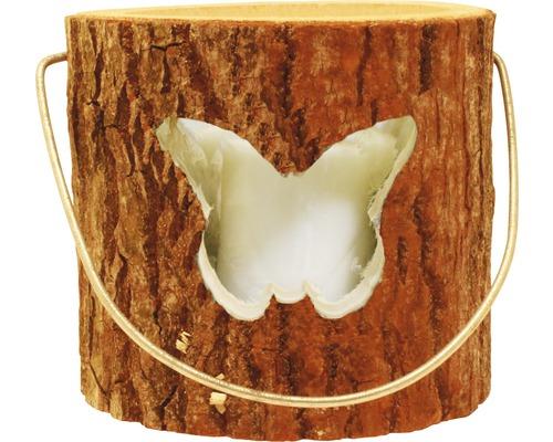 Photophore en bois papillon Ø18 H15cm