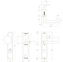 Poignée de sécurité sur plaque ovale anti-effraction acier inoxydable pour cylindre profilé 72 mm avec bouton/béquille hxl 250/50 mm utilisable à droite et à gauche-thumb-1