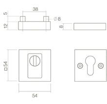 Rosace de sécurité carrée acier inoxydable noir anti-effraction pour cylindre profilé hxl 55/55mm 1 paire-thumb-1
