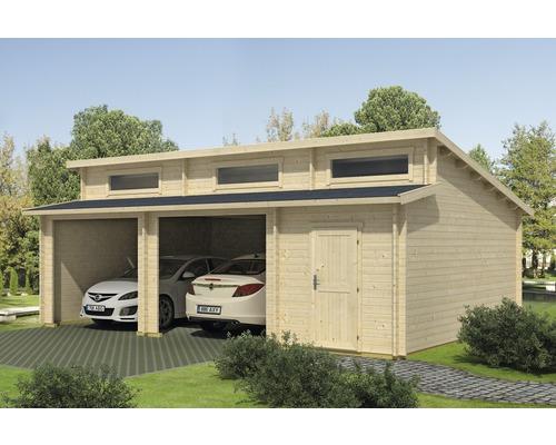 Garage double Hawaii sans porte avec espace outils 780x520cm naturel