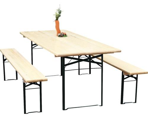 Ensemble table et bancs pliants largeur 80cm épicéa 3 pièces naturel