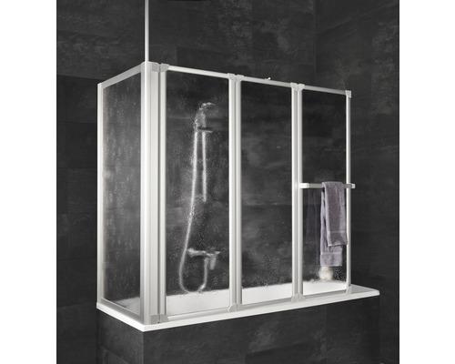 Pare-baignoire Schulte 3 pièces Verre synthétique transparent Softline Alu-Nature