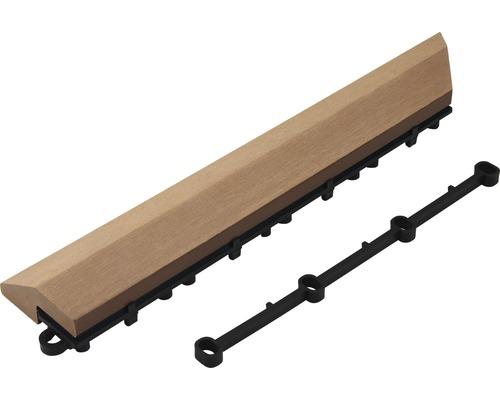 Élément latéral WPC gauche Konsta dalle à clipser 37x7x2.8cm marron