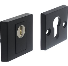 Rosace de sécurité carrée acier inoxydable noir anti-effraction pour cylindre profilé hxl 55/55mm 1 paire-thumb-0