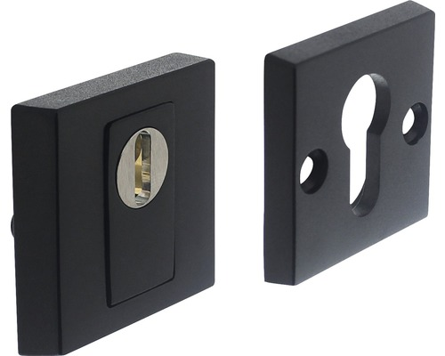 Rosace de sécurité carrée acier inoxydable noir anti-effraction pour cylindre profilé hxl 55/55mm 1 paire