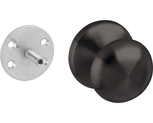 Haustürknopf feststehen rund Edelstahl schwarz Ø 65 mm 1 Stück